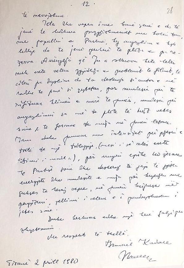 Fragment nga letra që Shkrimtari Kadare i drejtonte Udhëheqësit