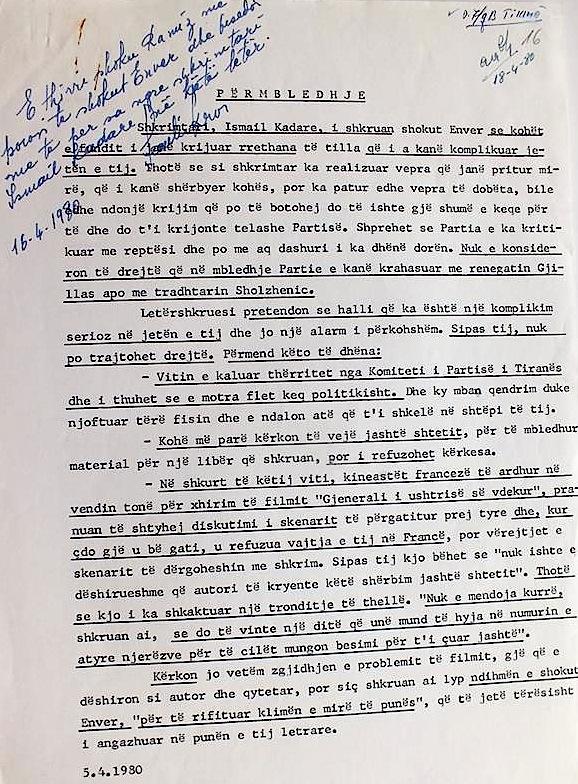 Shënim mbi letrën e Kadaresë Drejtuar Hoxhës