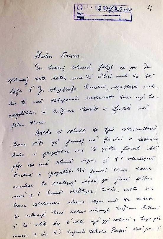 Letra e Kadaresë Drejtuar Hoxhës