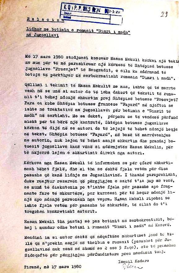 """Relacioni që Ismail Kadare i dërgon Komitetit Qëndror lidhur me botimin e librit """"Dimri madh"""" në Jugosllavi"""