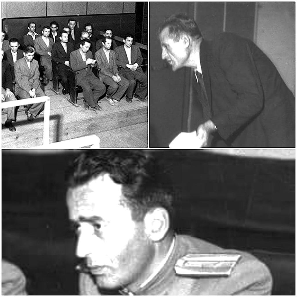 Vendimi i gjykatës në 27 shtator 1947 për të pandehurit në gjyqin e Grupit të Deputetëve Foto 3-Prokuror, Zv/ Prokuror i Përgjithshëm Josif Pashko Foto 4- Kryetari i trupit Gjykues Major Niko Çeta