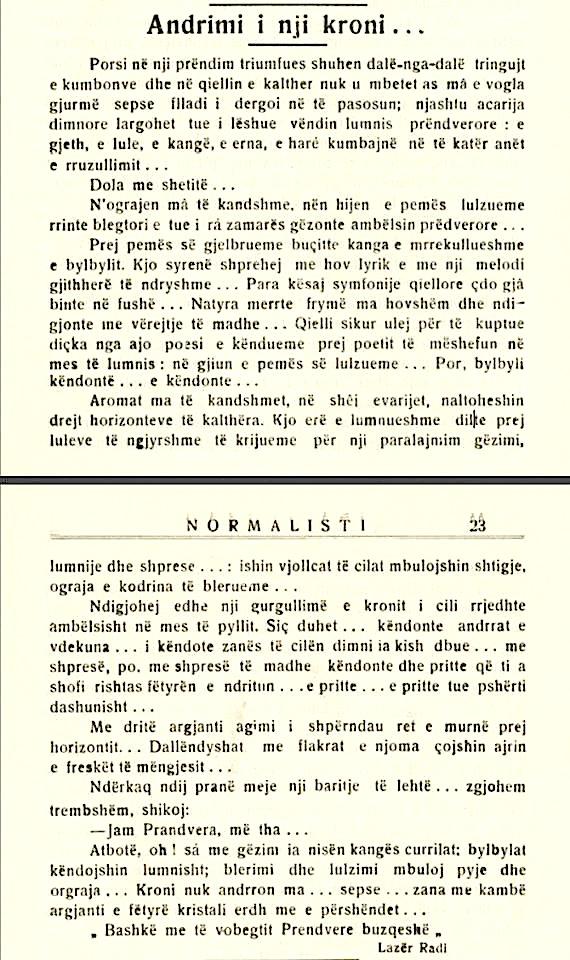 """Lazer Radi - Revista """"Normalisti"""", prill 1936"""