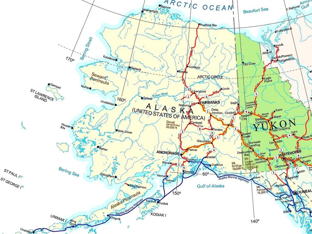 Harta e Alaskës. Diku poshtë djathtas: Skagway!