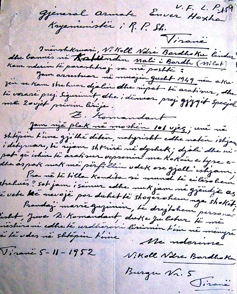 Letra e 106 vjeçarit Nikoll Ndre Bardhoku - drejtuar kryeministrit Hoxha