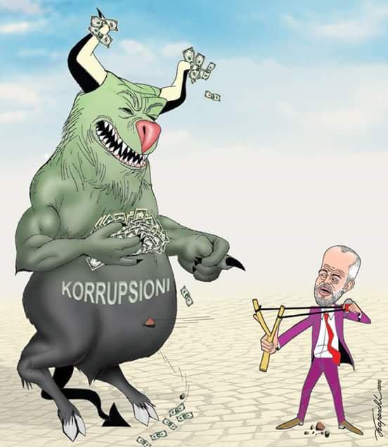 Luftë kundra korrupsionit (Karikatura Bujar Kapexhiu)