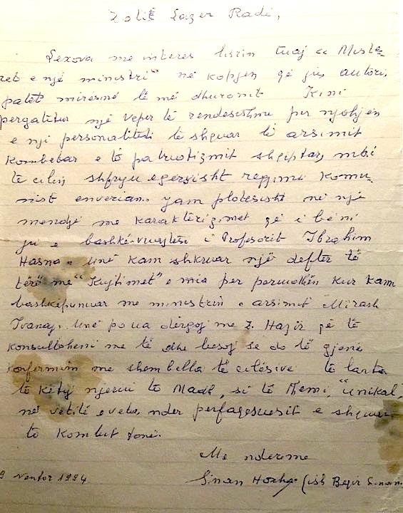 Letra e Beqir Sinanit drejtuar Lazër Radit