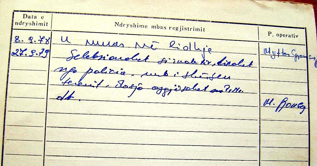 Kartela e rekrutimit te Kozma Llaqi Janos