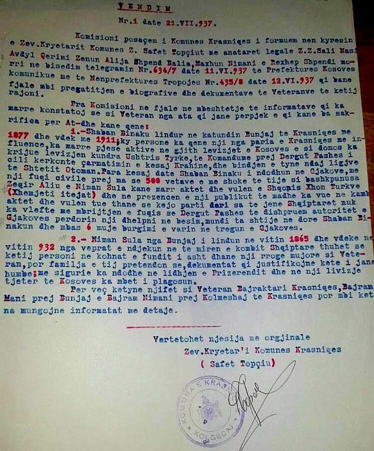 Vendimi Nr. 1, datë 21. VII. 1937, mbi veteranët e propozuar për Krasniqen