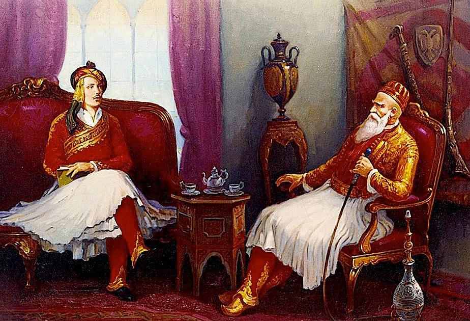 Ali Pasha dhe Bajroni  (pikturë nga Qamil Prizreni)