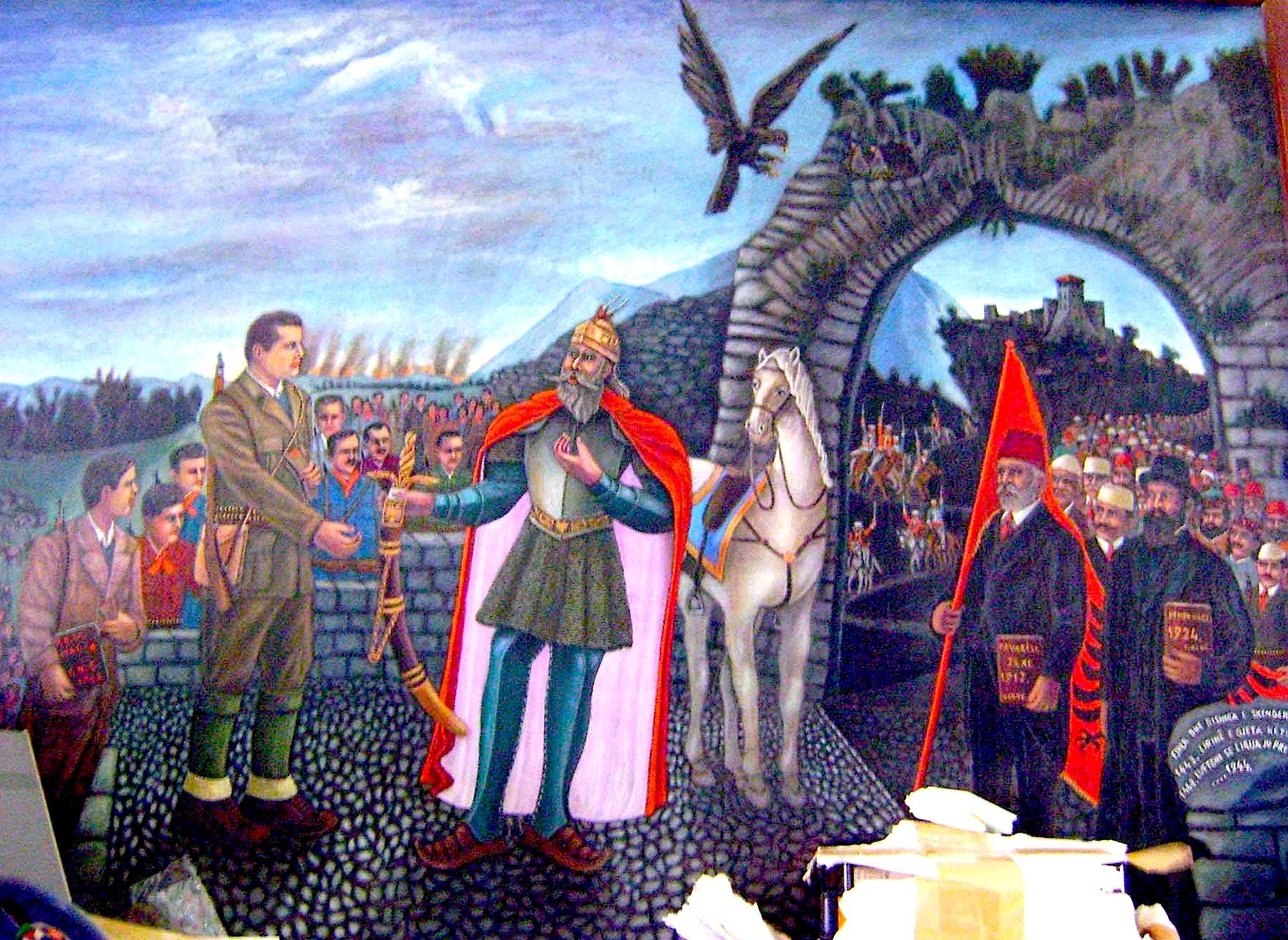 Skënderbeu duke i dhënë shpatën Diktatorit