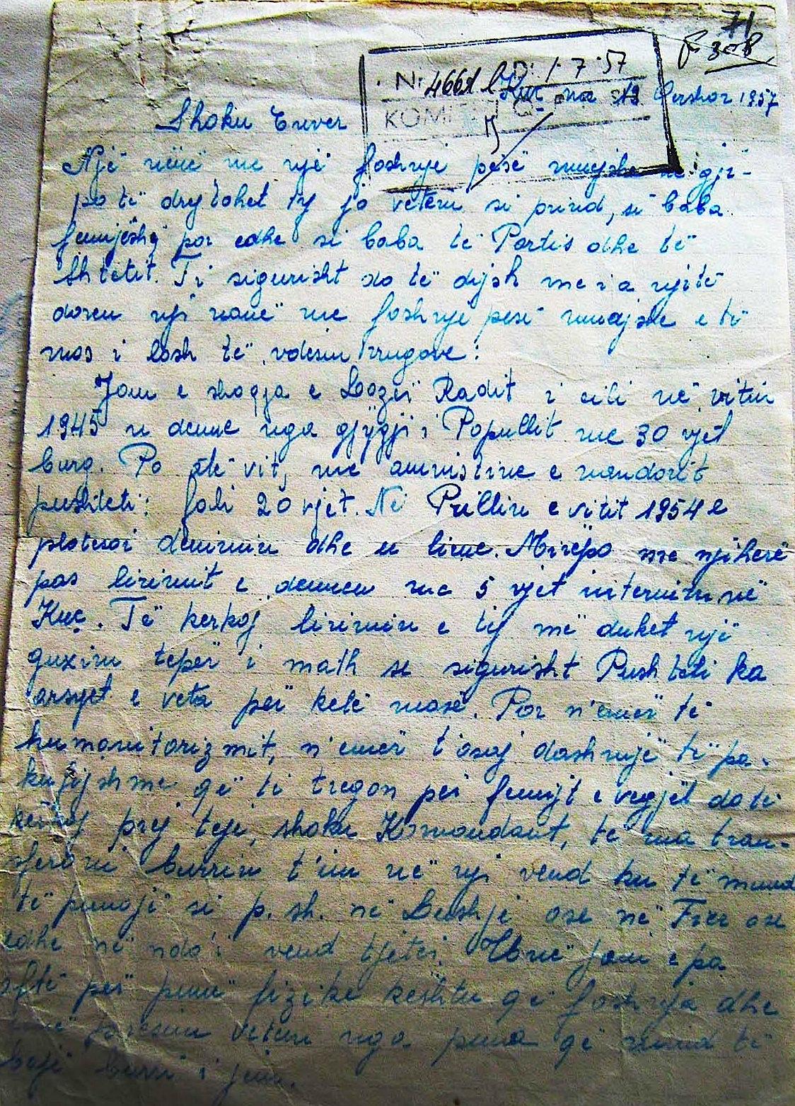 Viktori Radi i shkruan diktatorit  - 12 qershor 1957