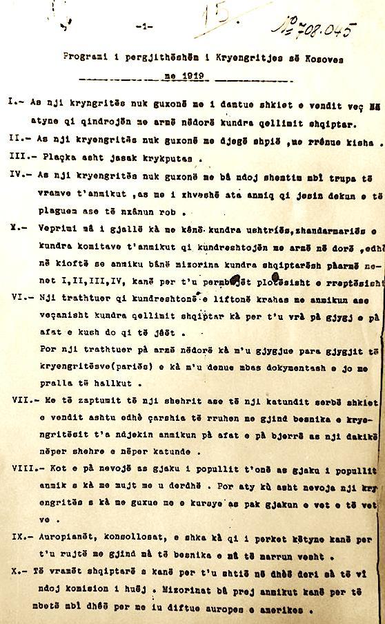 Dokumenti i Kryengritjes së Kosovës në 1919