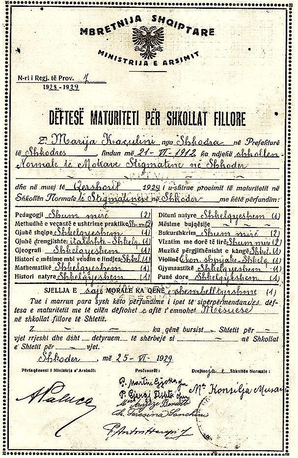 Një dëftesë shkollore e vitit 1929