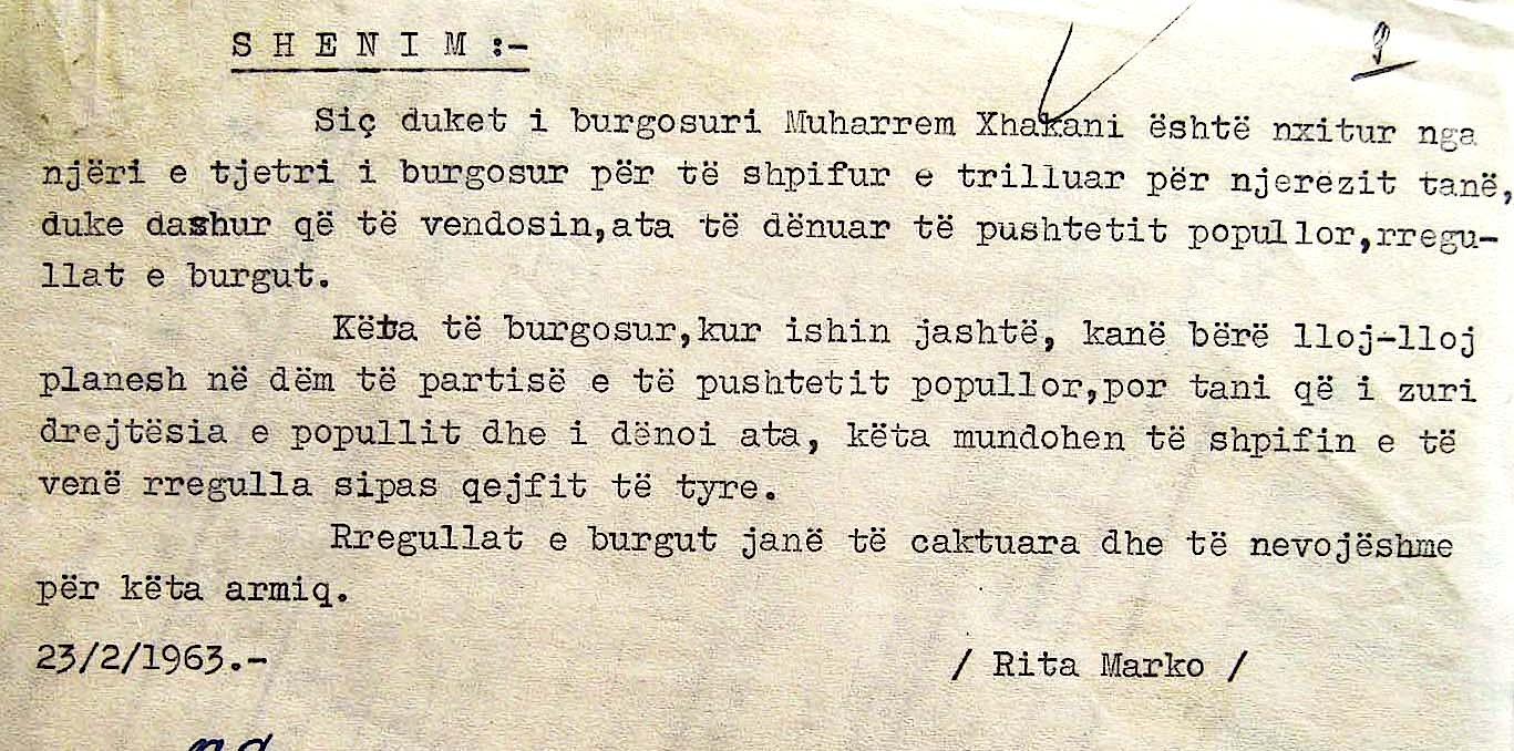 Mbas kësaj letre të gjatë... shënimi i shkout Rita Marko