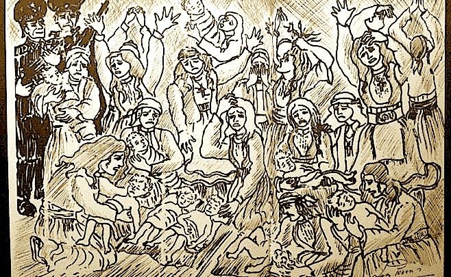 Kampi i Tepelenës - Vdekja e Foshnjave - Pikturë nga Lek Pervizi