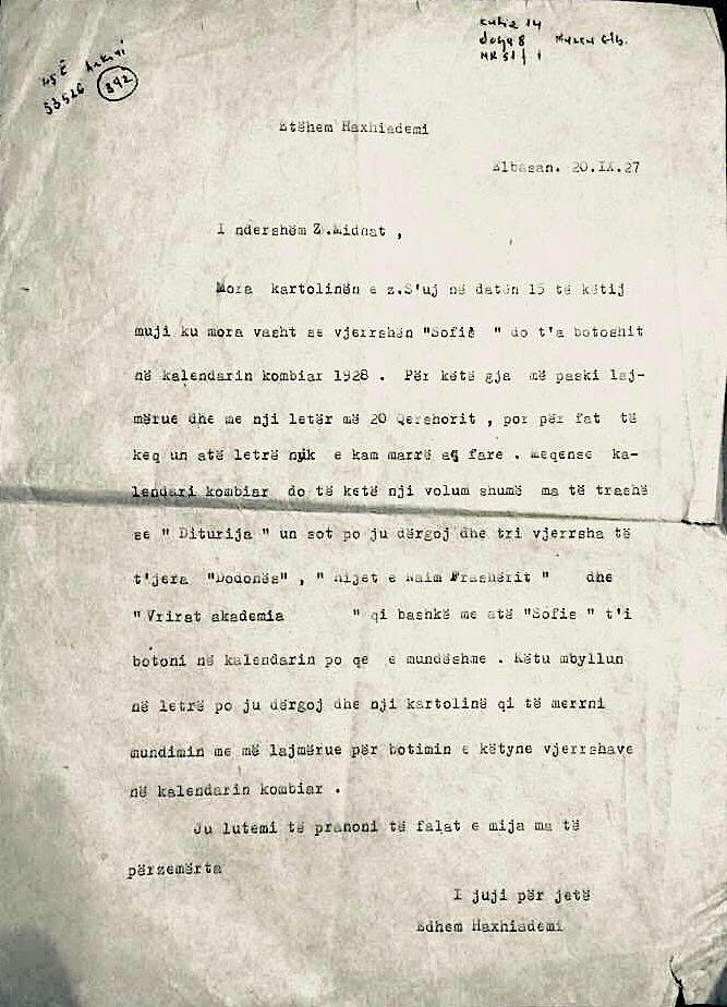 Et'hem Haxhiademi i shkruan Mit'hat Frashërit (1927)