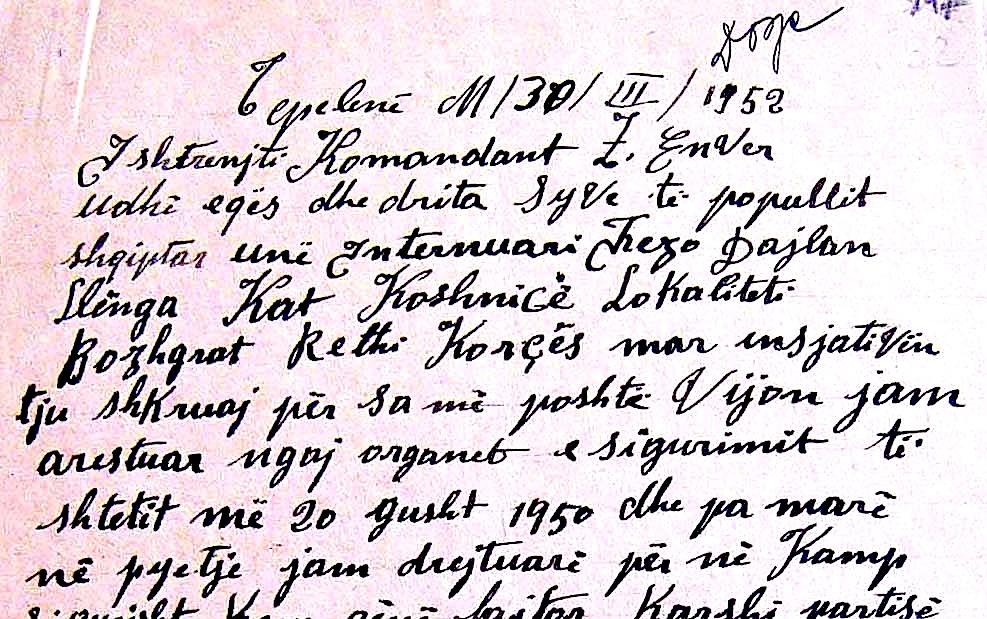 Fezo Dajlan Llënga i shkruan Komandantit