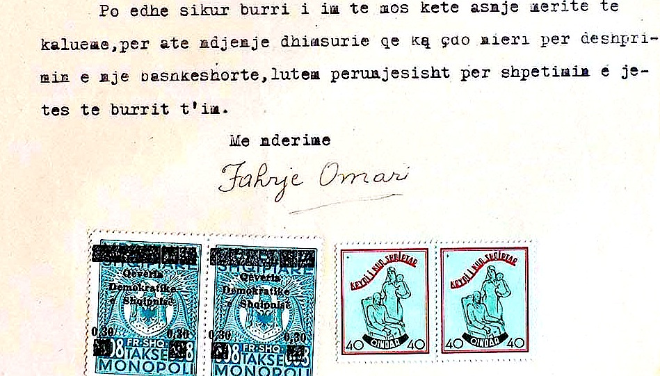 Pjesë nga letra që Fahrie Omari i drejtonte K.K. Nacionalçlirimtar më 13.4.1945, për faljen e bashkëshortit Bahri Omari