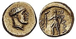 Monedhe bronxi me portretin e mbretit Ballaeus, pas emri Βαλλαῖος dhe hyjnesha Diana.