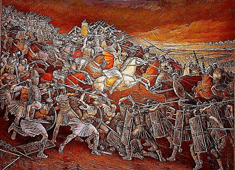 Beteja e ilirëve kundër pushtuesve romakë. (Muzeu Gjergj Kastrioti Kruje)