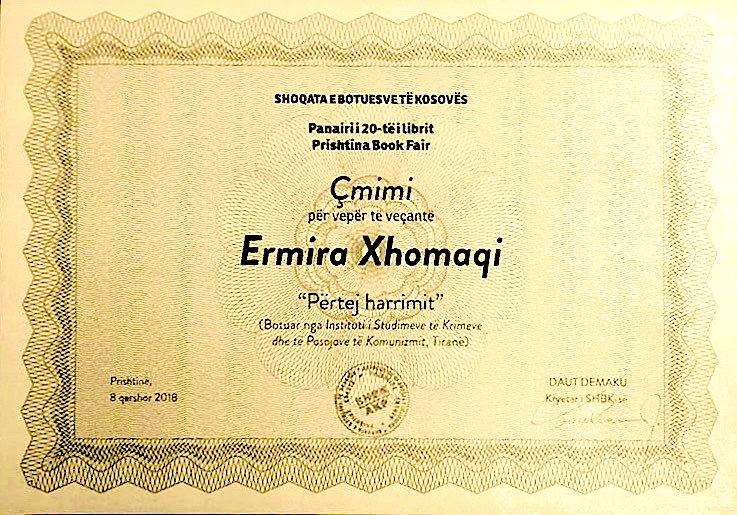 """Ermira Xhomaqi - çmimi  """"Për vepër të veçantë""""  Panairi i 20 i librit në Prishtinë"""