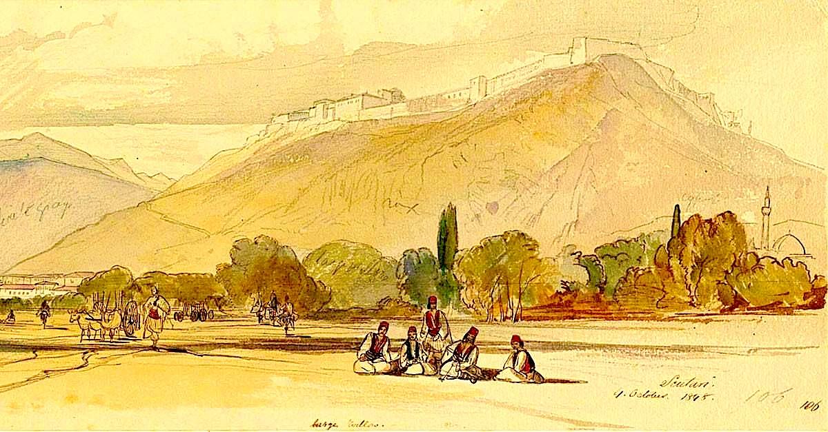 Edward Lear: Kështjella e Shkodrës, tetor 1848. (Harvard University, Huntington Library)