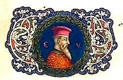 """Miniatura me portretin e Gjergj Kastriotit Skenderbeu, në faqen e fundit të kodit """"De Romanorum Magistratibus"""" i 5 nëntorit 1465."""