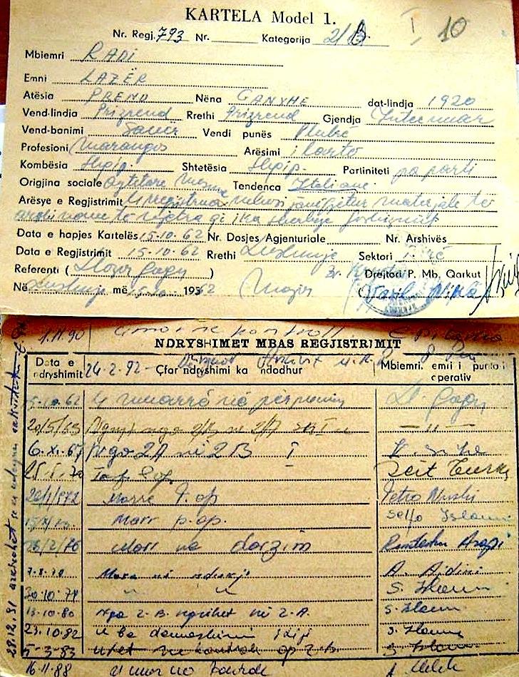 Skedat e Arkivë së M. P. B. - mbi Lazër Radin