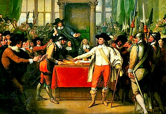 Oliver Cromwell ne Parlamentin anglez 1653