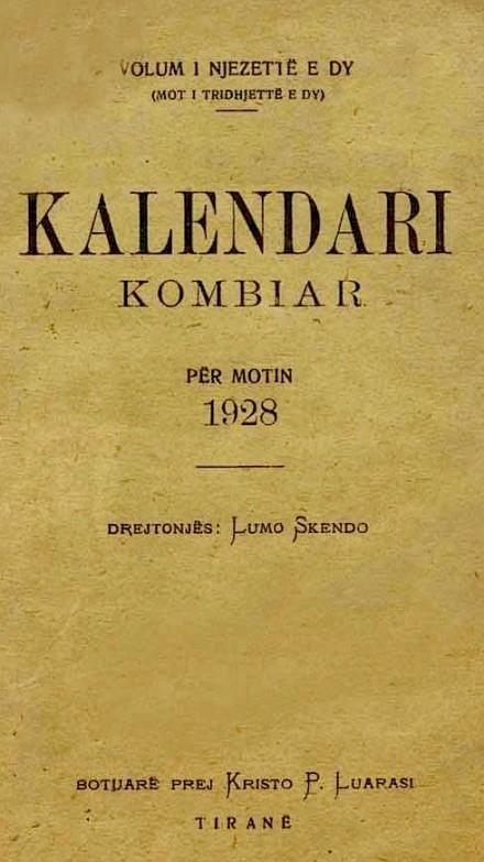 Kalendari Kombiar -1928 - e Lumo Skendos