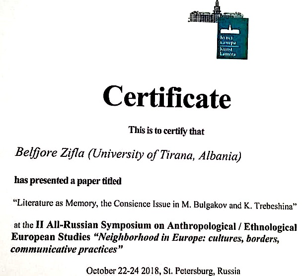 Certifikata per Belfjore  Qose