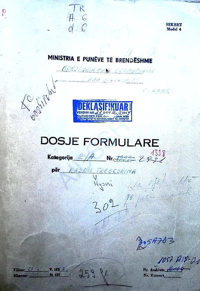 Kasem Trebeshina - Dosja formulare (Sigurimi i Shtetit) Nr. 1338  -