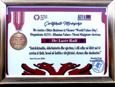 Organizata ALVA - Albanian Values, vlerëson Dr. Lazër Radin