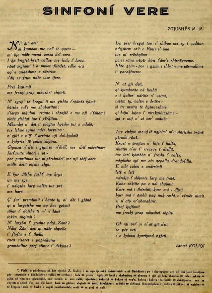 Sinfoni vere - Ernest Koliqi