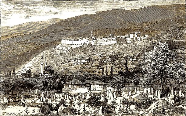 Pamje e Prizrenit (varrezat e vjetra të qytetit) - MacKenzie, G. Muir (Georgina Muir), 1874 (vizatim)