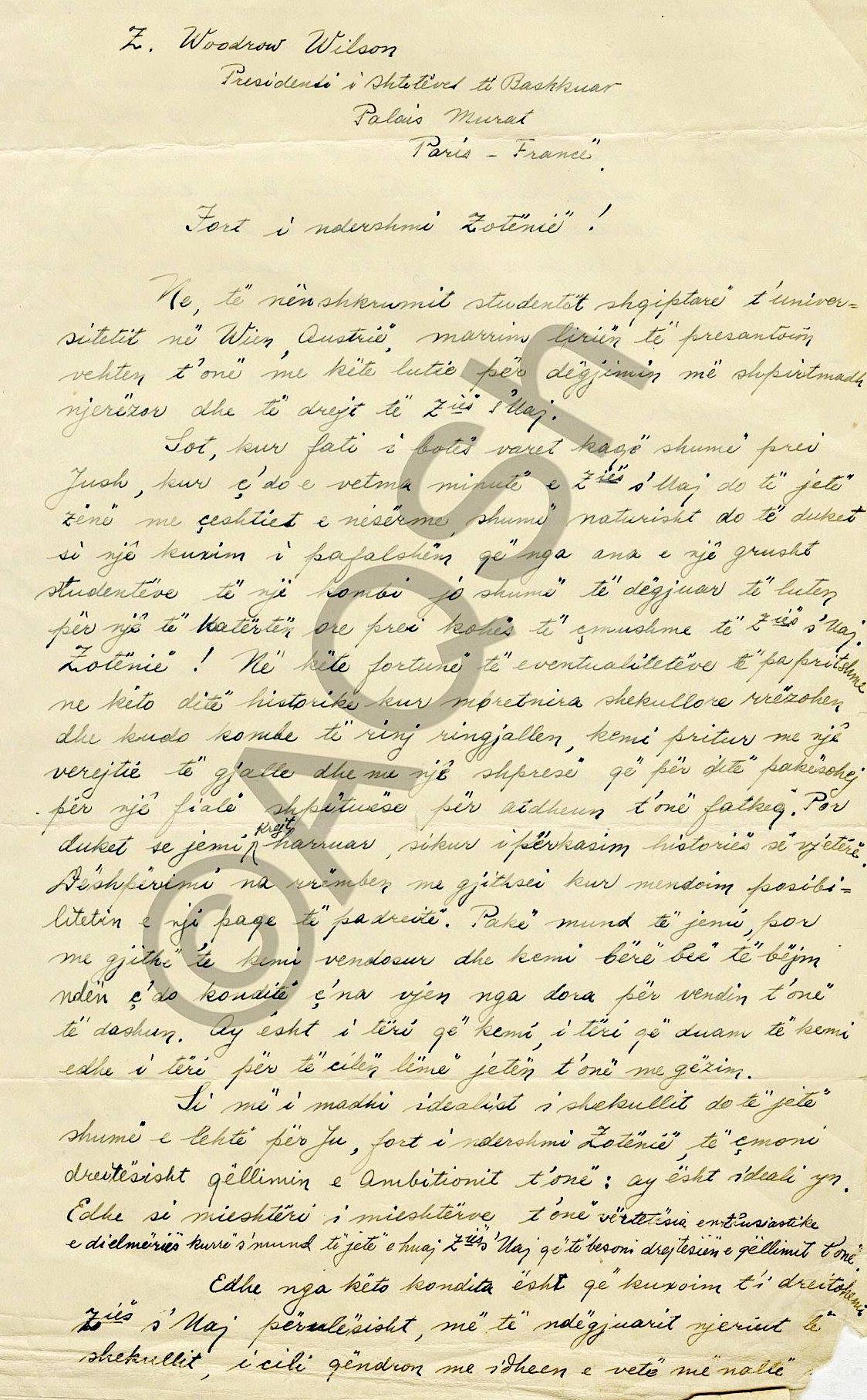 Letra e 10 studenteve shqiptareLetra e 10 studenteve shqiptare drejtuar Wodrow Wilson drejtuar Wodrow Wilson