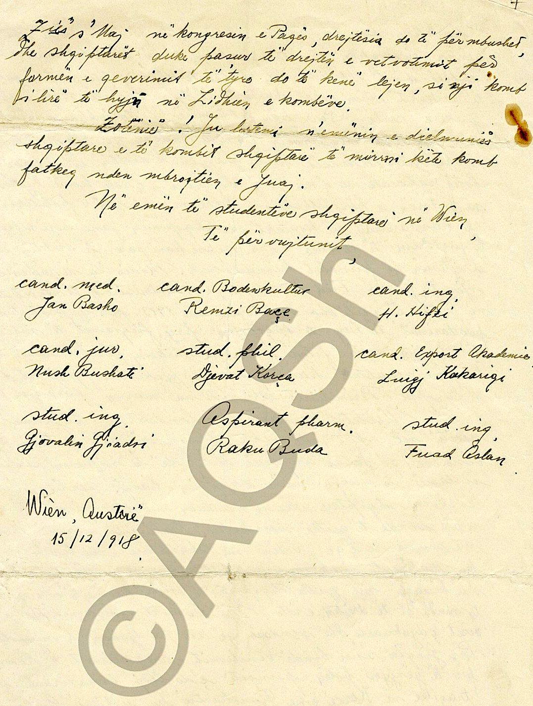 Letra e 10 studenteve shqiptare drejtuar Wodrow Wilson