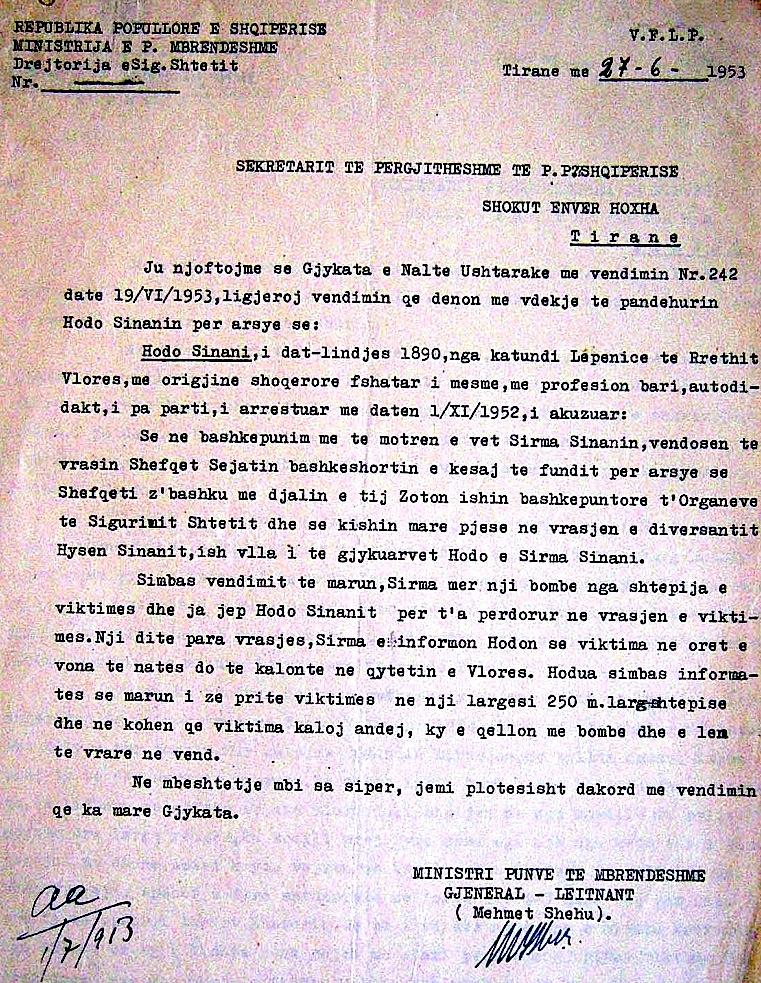 Mehmet Shehu miraton dënimin me vdekje...