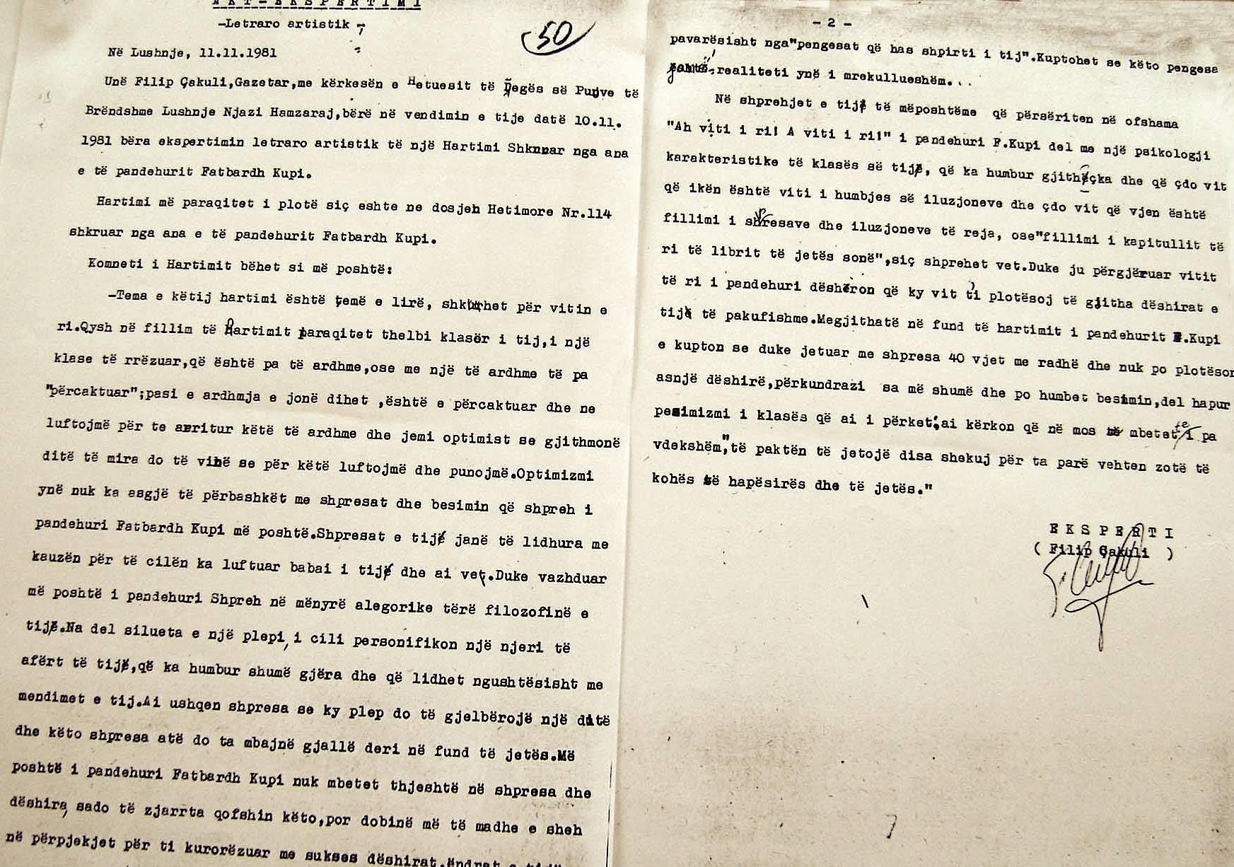 Akt-ekspertiza e Filip Çakulit 1981