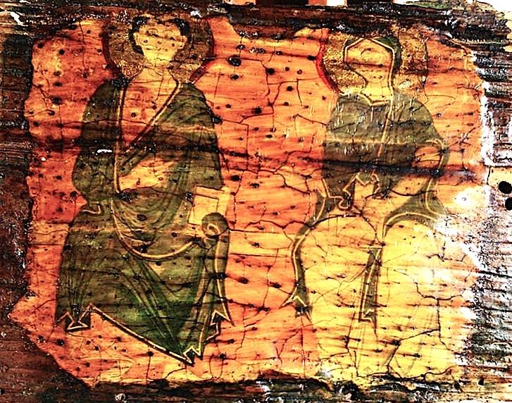 Shën Maria & apostulli Shën Gjon me librin ne dorën e majtë. Ikonë e shek. VI-X