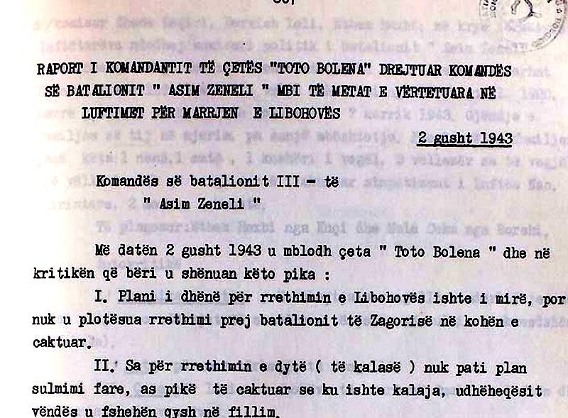 """Pjese nga iaporti i 2 gusht 1943, nga komandantit të çetës """"Toto Bolena"""" Iljaz Kofina"""