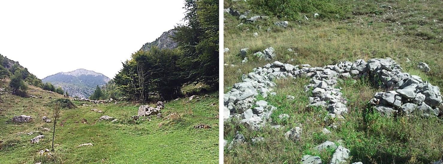Fragment i murit jugor të Qytezës së Valit, përballë Mali Snoi i Madh. Pjesë rrënojash të mureve të kishës së Shën Mëhillit, në sheshin qendror të kështjellës.