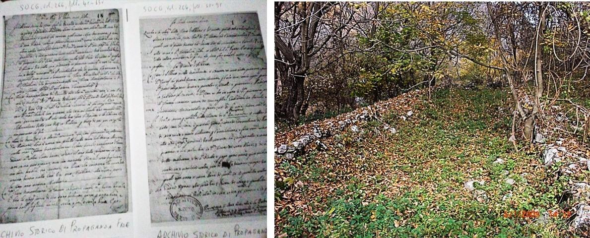Faksimile e relacionit të Mark Skurës dhe fragmente muresh të Abacise të Shën Aleksandrit të Valit