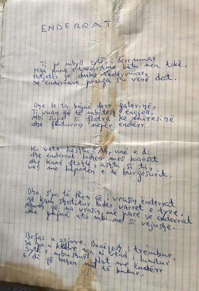 Endërrat - Visar Zhiti, poezi e nxjerrë nga burgu...