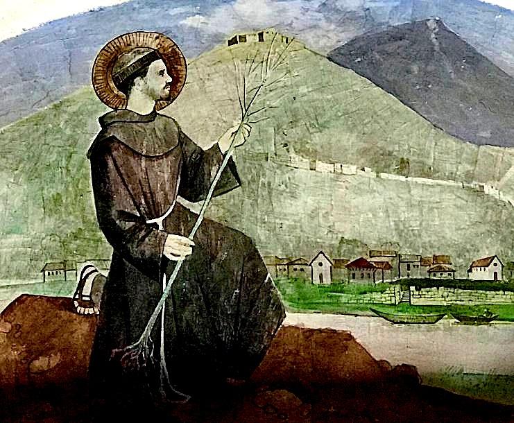 Shën Françesku në Lezhë, me fidanin e pishës. Afreskt në Kishën e Don Lleshit në Lezhë, vepër e piktorit Pashk Përvathi - Mjeshtër i Madh.