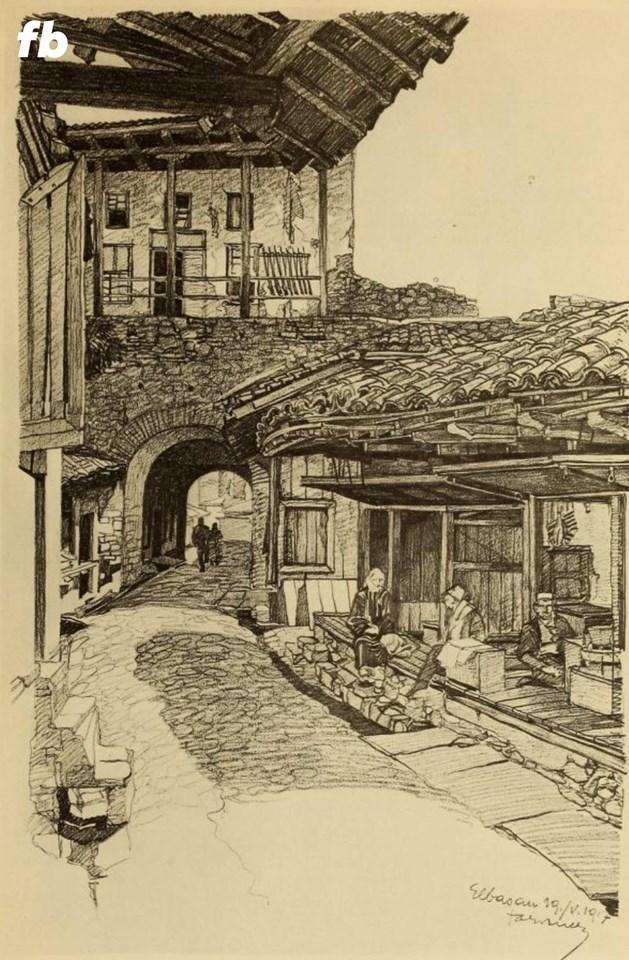 """""""Rrugë pazari, pranë portës kalasë, Elbasan"""", 19 maj 1917"""