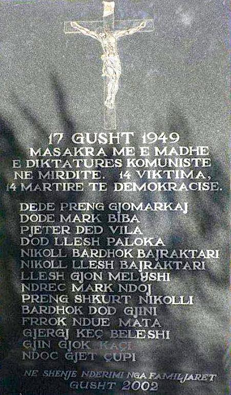 Pllaka Përkujtimore e Masakrës së Qafës së Valmirit - 19 gusht 1949