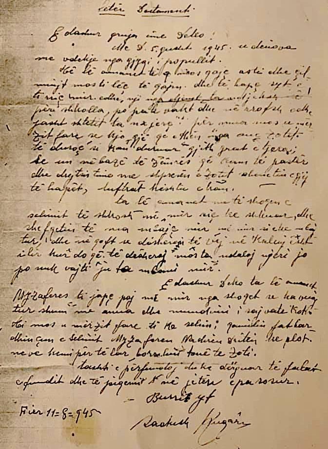 Letra e Sadush Kuqarit para pushkatimit