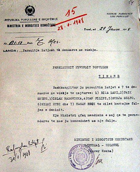 Letra Hoxhws per mosfaljen e Surja Selfos