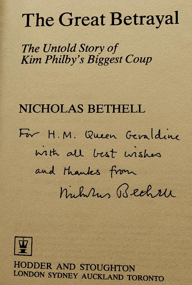 Lord Bethells Book signed a Geraldina